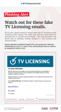 Watch out for these fake TV Licensing emails.