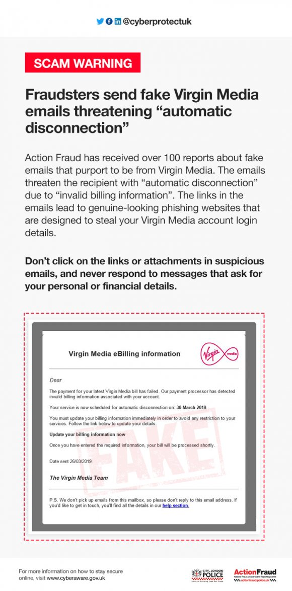 Fraudsters send fake Virgin Media emails threatening