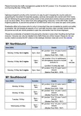 M1 Closure information - Week commencing Monday 18 May 2020 Traffic Management update